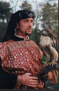 Gary Henson, local falconer, in his role as Sheriff of Nottingham.
